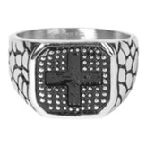 Square, Cross, Men's Ring, Size 10