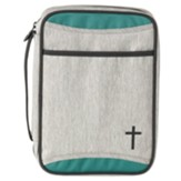 Canvas Bible Cover, Teal and Gray with Cross, Thinline