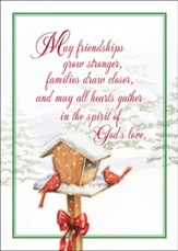 Birdhouse and Cardinals Christmas Card with Magnet, Set of 18