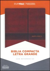 Biblia Compacta Letra Gde. RVR 1060, Piel Imit. Marron Solapa Mag.  (RVR 1960 Lge.Print Compact Bible, Brown Imit.Leather, Flap) - Slightly Imperfect