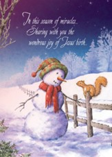 Snowman and Squirrel Christmas Card with Magnet, Set of 18
