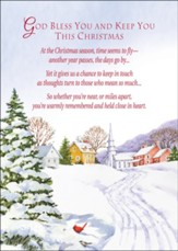 Snowy Church Town Christmas Card with Magnet, Set of 18