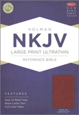 NKJV Large Print Ultrathin Reference Bible--soft leather-look, British tan