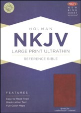 NKJV Large Print Ultrathin Reference Bible--soft leather-look, British tan (indexed) - Imperfectly Imprinted Bibles