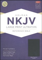 NKJV Large-Print Ultrathin Reference Bible--premium genuine leather, black - Imperfectly Imprinted Bibles