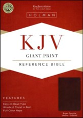 KJV Giant-Print Reference Bible--genuine leather, brown (indexed)