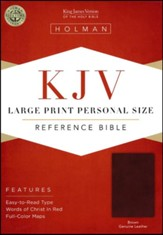 KJV Large-Print Personal-Size Reference Bible--genuine leather, brown