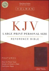 KJV Large-Print Personal-Size Reference Bible--genuine leather, brown (indexed)