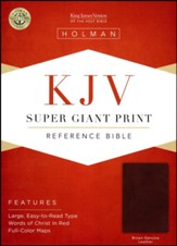 KJV Super Giant-Print Reference Bible--genuine leather, brown - Imperfectly Imprinted Bibles