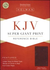 KJV Super Giant-Print Reference Bible--genuine leather, brown (indexed) - Imperfectly Imprinted Bibles