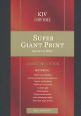 KJV Super Giant-Print Reference Bible--soft leather-look, black (indexed)