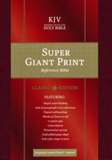 KJV Super Giant-Print Reference Bible--soft leather-look, burgundy (indexed) - Slightly Imperfect