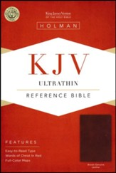 KJV Ultrathin Reference Bible--genuine leather, brown - Imperfectly Imprinted Bibles