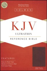 KJV Ultrathin Reference Bible--genuine leather, brown (indexed)