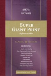 NKJV Super Giant-Print Reference Bible--soft leather-look, burgundy (indexed) - Imperfectly Imprinted Bibles