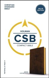 CSB Compact Bible, Value Edition--soft leather-look, brown