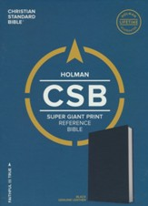 CSB Super Giant-Print Reference Bible--genuine leather, black