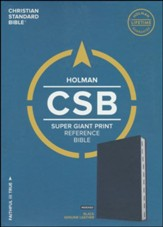 CSB Super Giant-Print Reference Bible--genuine leather, black (indexed) - Imperfectly Imprinted Bibles