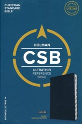 CSB Ultrathin Reference Bible--genuine leather, black (indexed) - Slightly Imperfect