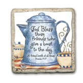 God Bless Friend Coffee Pot Sentiment Tile
