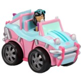 Pull Back Vehicle with Moving Figure, Pink Baja Buggy