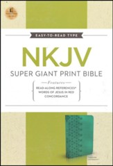 NKJV Super Giant Print Reference Bible, Leathersoft, Turquoise - Imperfectly Imprinted Bibles