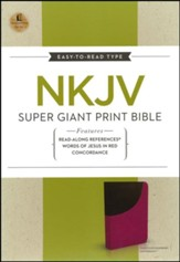 NKJV Super Giant Print Reference Bible, Leathersoft, Raspberry/Dark Roast--indexed