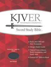 KJVer (Easy Reader) Large Print Sword Study Bible, Personal Size, Ultrasoft Black, Thumb Indexed