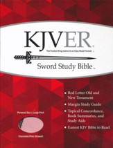 KJVer (Easy Reader) Large Print Sword Study Bible, Personal Size, Ultrasoft Chocolate/Pink - Imperfectly Imprinted Bibles