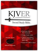 KJVer (Easy Reader) Large Print Sword Study Bible, Personal Size, Ultrasoft Walnut Alligator, Thumb Indexed
