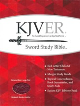 KJVer (Easy Reader) Large Print Sword Study Bible, Personal Size, Genuine Leather Burgundy