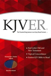 KJVer (Easy Reader) Personal Size Bible, Ultrasoft Blue/Tan, Thumb Indexed