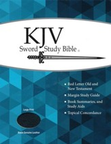 KJV Large Print Sword Study Bible, Genuine Leather Black