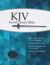 KJV Large Print Sword Study Bible, Genuine Leather Black, Thumb Indexed