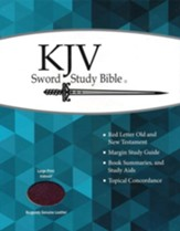 KJV Large Print Sword Study Bible, Genuine Leather Burgundy, Thumb Indexed