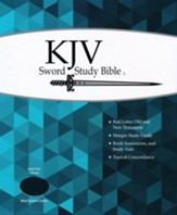KJV Giant Print Sword Study Bible, Genuine Leather Black, Thumb Indexed - Imperfectly Imprinted Bibles