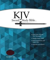 KJV Giant Print Sword Study Bible, Genuine Leather Burgundy