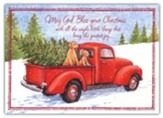 Red Truck and Puppies Christmas Card with Magnets, Set of 18