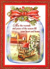 Rocking Chair in Mason Jar Christmas Card with Magnets, Set of 18