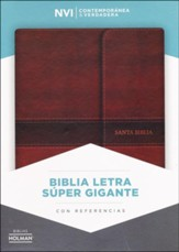 Biblia NVI Letra Super Gigante, Piel Fab. Marron, c/Cierre, Ind.  (NVI Super Giant Print Bible, Bon.Leather, Brown, w/Flap, I.)  - Slightly Imperfect