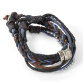 4-Strand Leather Bracelet with Cross Charm, Blue, Black