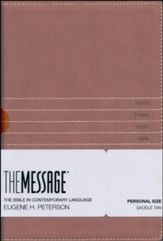 The Message Personal-Size Bible--soft leather-look, saddle tan