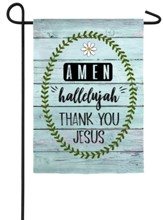 Amen, Hallelujah, Thank You Jesus Suede Flag, Small