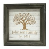 Personalized, Wooden Framed Sign, with Tree, Gray and White