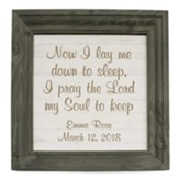 Personalized, Wooden Framed Sign, Now I Lay, Gray and White