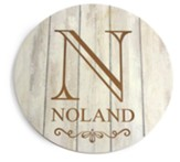 Personalized, Wooden Sign, Round, with Monogram, White