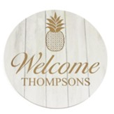 Personalized, Wooden Sign, Round, with Pineapple, White