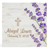 Personalized, Wooden Sign with Flowers, and Cross,   Small, White
