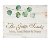 Personalized, Wooden Sign with Leaves, Family Name,   Small, White