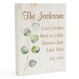 Personalized, Wooden Sign with Leaves, Love Grows,  Small, White